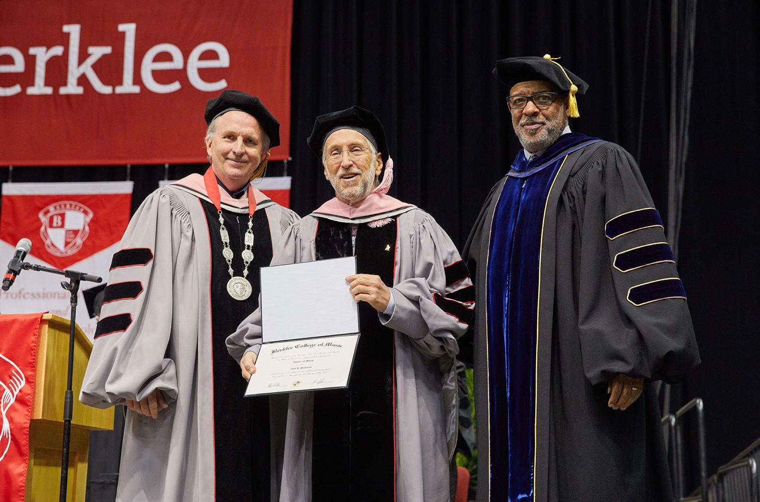 Berklee president Roger H. Brown, Neil Portnow amd Larry Simpson, Berklee's senior vice president for academic affairs/provost.