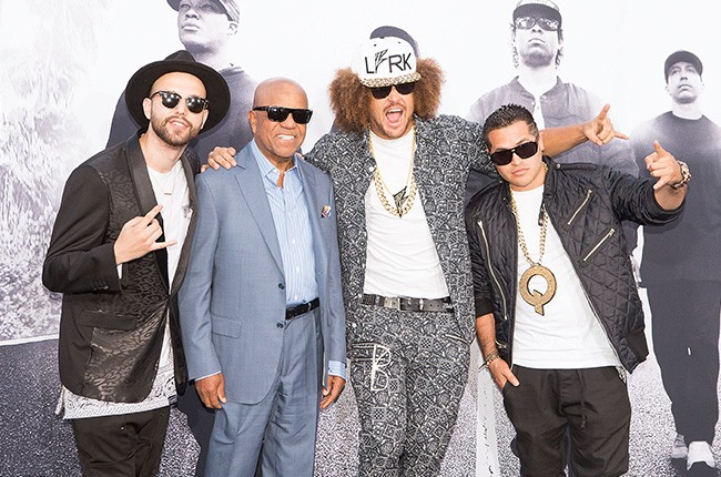 Berry Gordy, Redfoo straight outta compton premiere 2015