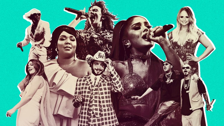<p>Tyler, the Creator, Maggie Rogers, Lizzo, Billie Eilish, Post Malone, Ariana Grande, Miranda Lambert, Bad Bunny and J Balvin</p>