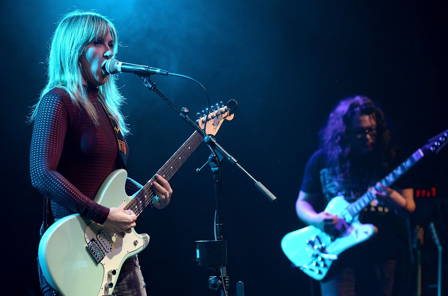 """Liz Phair and Bobb Bruno of Best Coast perform onstage during the """"Don't Site Down: Planned Parenthood Benefit Concert"""" at El Rey Theatre on March 4, 2017 in Los Angeles."""