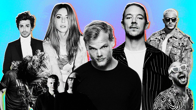 <p>From left: Gesaffelstein, Bassnectar, Alison Wonderland, The Chemical Brothers, Avicii, Diplo, DJ Snake and FISHER</p>