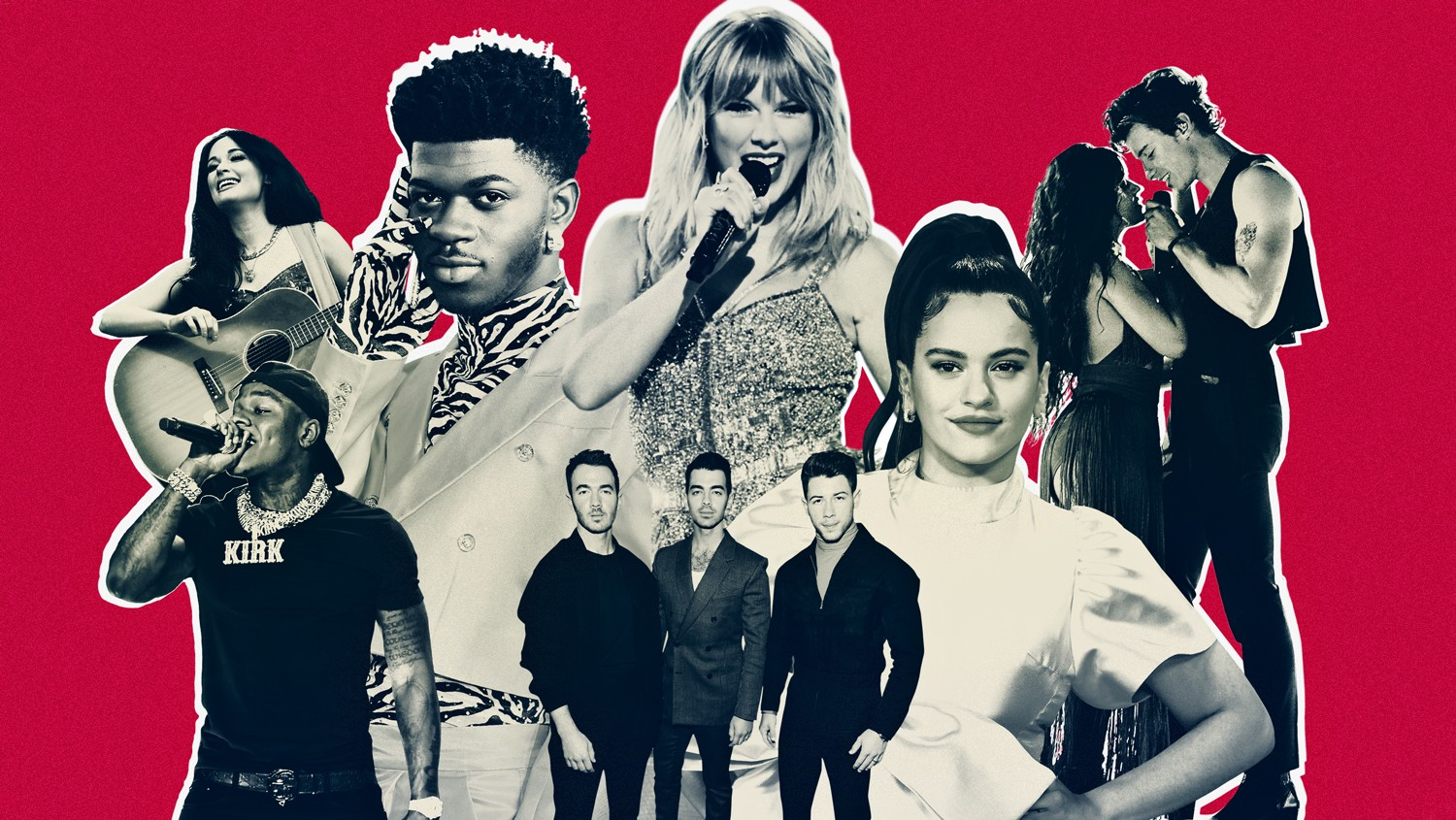 Kacey Musgraves, DaBaby, Lil Nas X, Taylor Swift, Jonas Brothers, Rosalía, Camila Cabello and Shawn Mendes