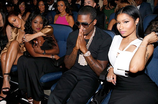 Rihanna, guest, and rappers Meek Mill and Nicki Minaj attend the 2015 BET Awards