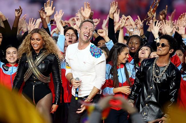 Beyonce, Chris Martin of Coldplay, and Bruno Mars