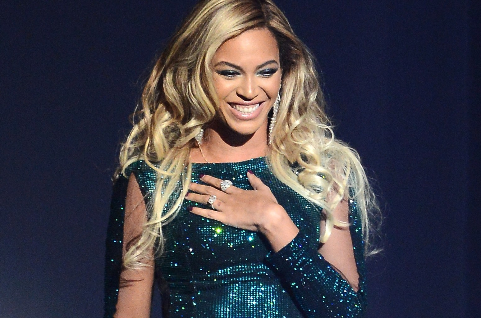 Beyonce  performs at The BRIT Awards 2014 at 02 Arena on Feb. 19, 2014 in London.