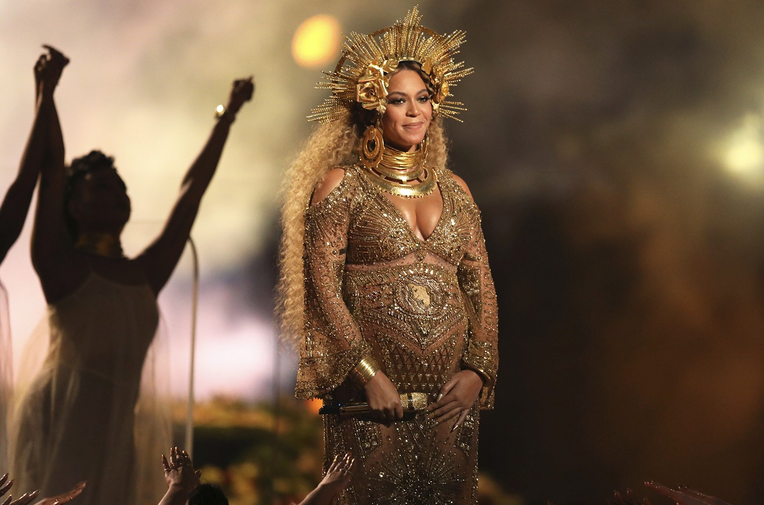 Beyonce performs at the 59th Annual Grammy Awards in Los Angeles.