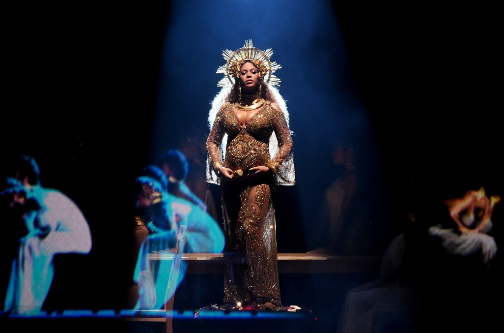 Beyonce performs onstage during The 59th Grammy Awards at Staples Center on Feb. 12, 2017 in Los Angeles.