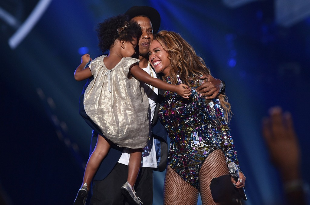 Jay Z, Beyonce and Blue Ivy Carter onstage during the 2014 MTV Video Music Awards at The Forum on Aug. 24, 2014 in Inglewood, Calif.