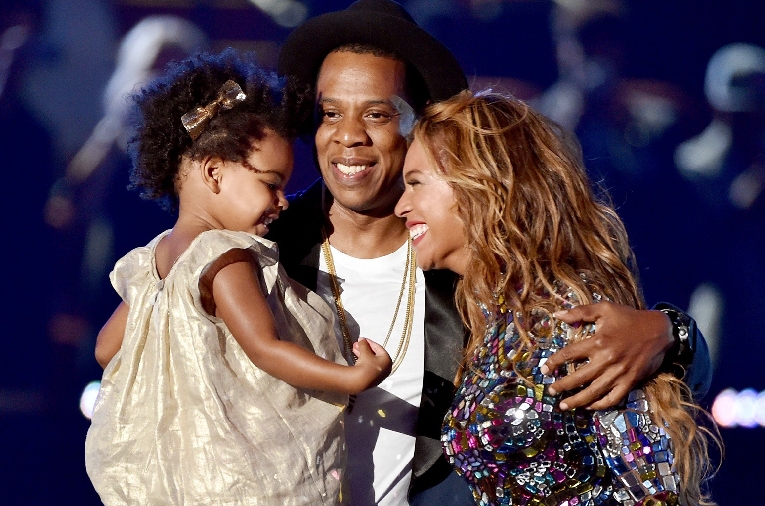 Jay Z and Beyonce with daughter Blue Ivy Carter onstage during the 2014 MTV Video Music Awards at The Forum on Aug. 24, 2014 in Inglewood, Calif.