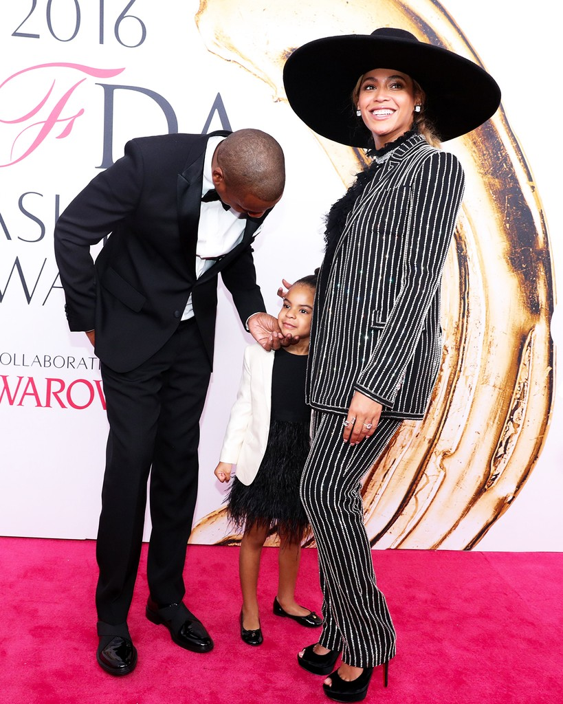 Jay Z, Blue Ivy Carter and Beyonce Knowles attend the CFDA Fashion Awards in New York on June 6, 2016.