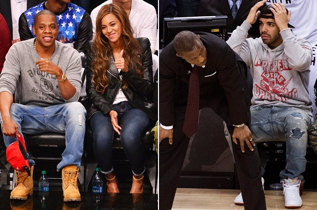 Jay Z, Beyonce and Drake at Nets-Raptors Playoff