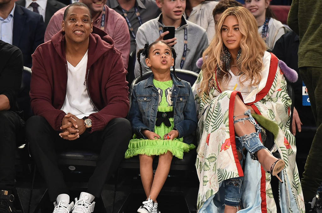 Jay Z, Blue Ivy Carter and Beyonce Knowles attend the 66th NBA All-Star Game at Smoothie King Center on February 19, 2017 in New Orleans, Louisiana.  (Photo by Theo Wargo/Getty Images)