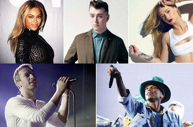 Beyonce, Sam Smith, Iggy Azalea, Pharrell, Chris Martin