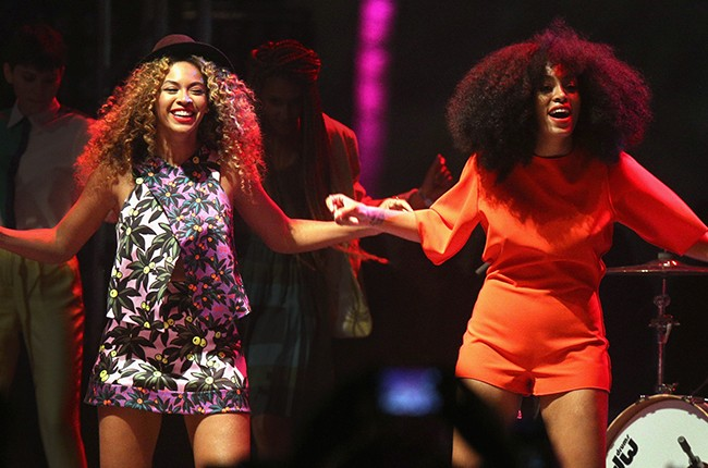 Beyonce and Solange on stage at Coachella