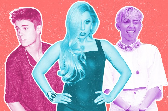 Justin Bieber, Lady Gaga and Miley Cyrus