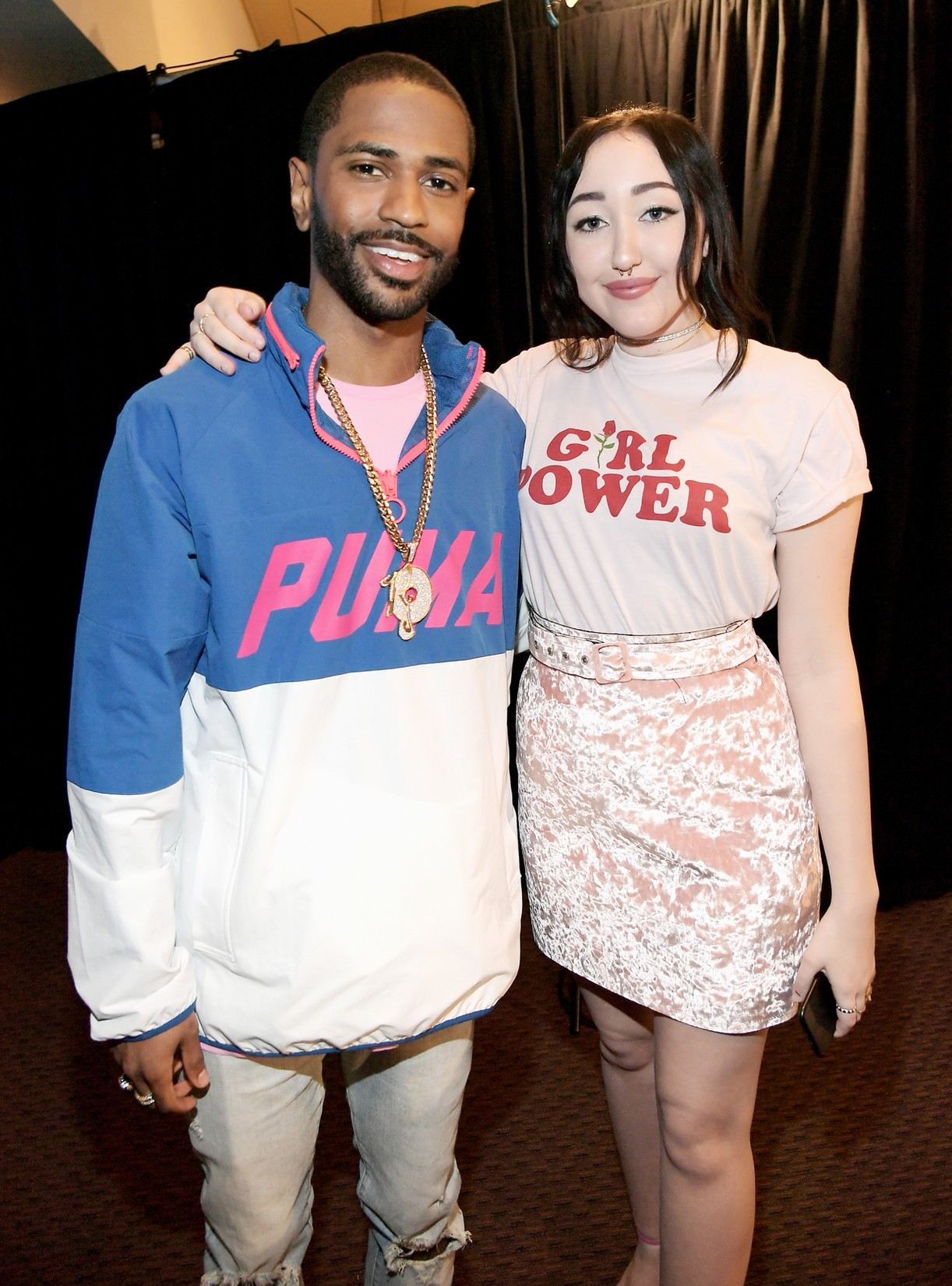 Big Sean and Noah Cyrus in the green room at Nickelodeon's 2017 Kids' Choice Awards at USC Galen Center on March 11, 2017 in Los Angeles.