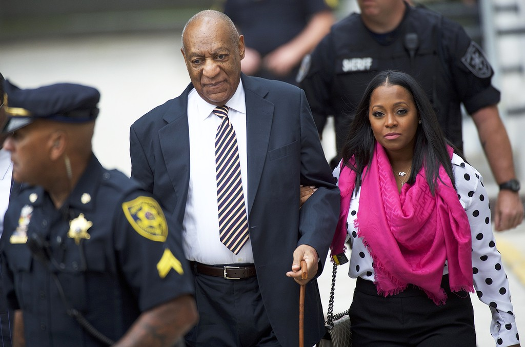 Bill Cosby arrives with Keshia Knight Pulliam at the Montgomery County Courthouse before the opening of the sexual assault trial June 5, 2017 in Norristown, Pa.