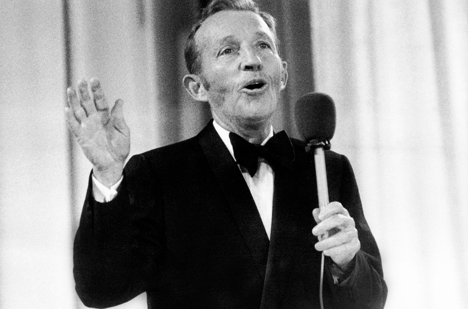 Bing Crosby performs at the Momarkedet opening show with his orchestra in Oslo on Aug. 30, 1977.
