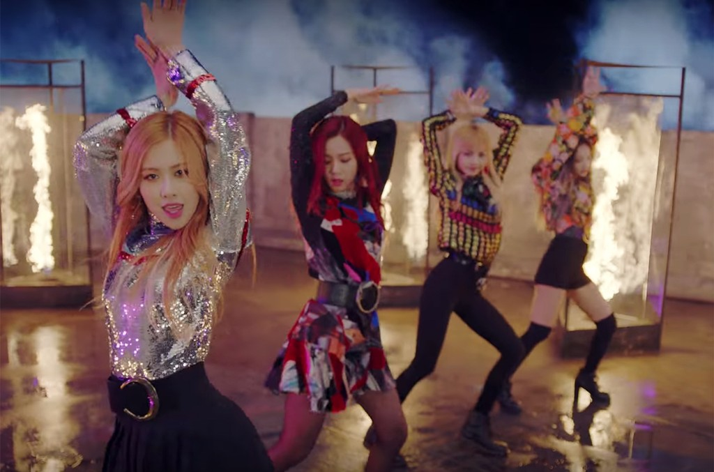 """BlackPink in the video for """"Playing with Fire."""""""