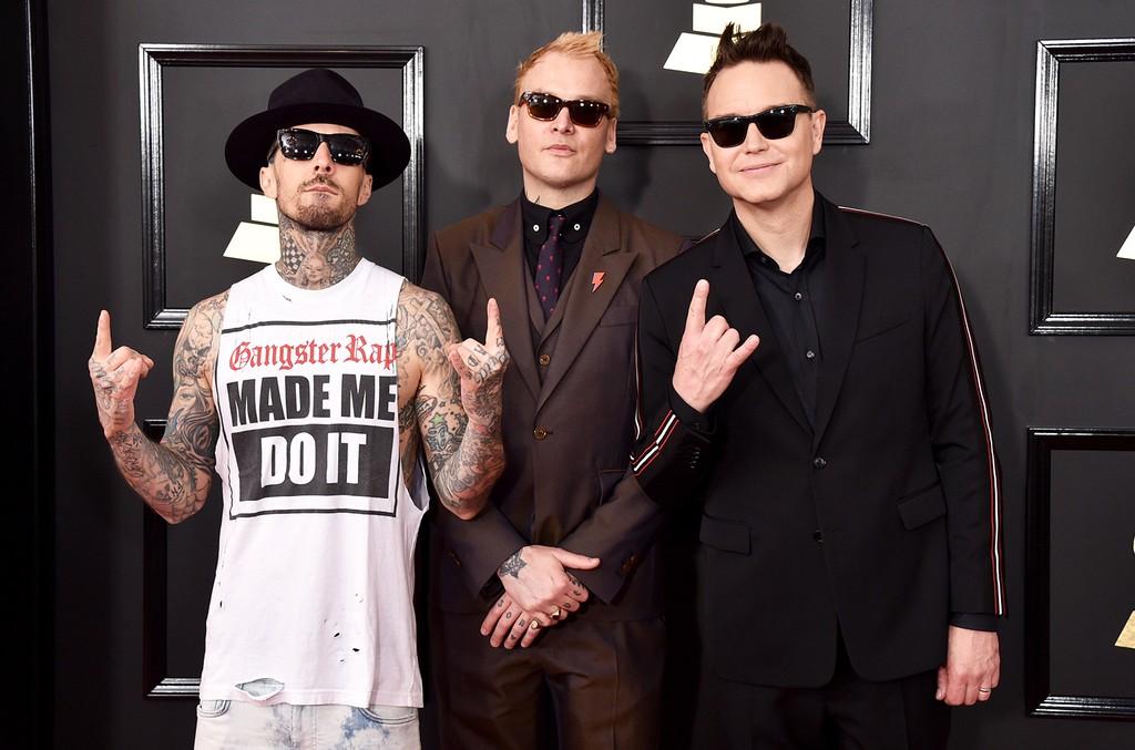 Travis Barker, Matt Skiba and Mark Hoppus of blink-182 attend The 59th Grammy Awards at Staples Center on Feb. 12, 2017 in Los Angeles.