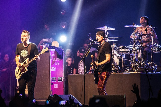 Mark Hoppus, Matt Skiba and Travis Barker of Blink 182