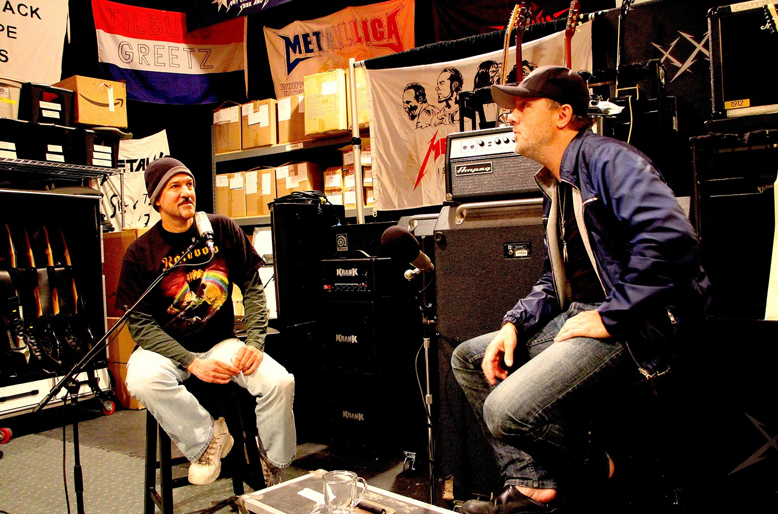 Bob Nalbandian interviewing Lars Ulrich of Metallica