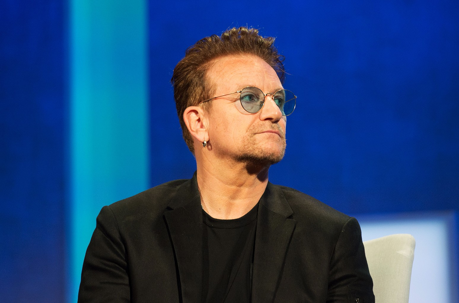 """U2 lead singer Bono attends the Opening Plenary Session: """"Partnering for Global Prosperity,"""" at the Clinton Global Initiative on Sept. 19, 2016 in New York."""