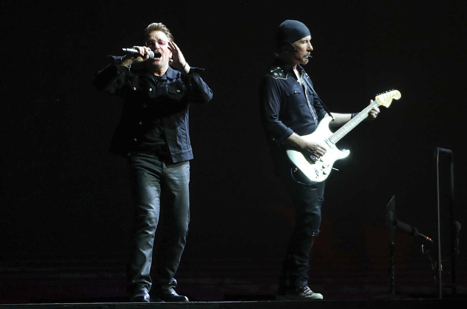 Bono and The Edge of U2 perform at the Rogers Centre on their Joshua Tree 30th anniversary tour in Toronto on June 23, 2017.  (