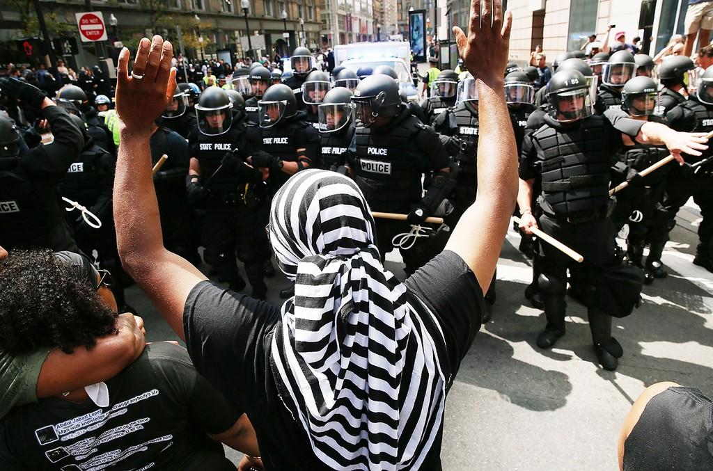 Protesters in boston, 2017