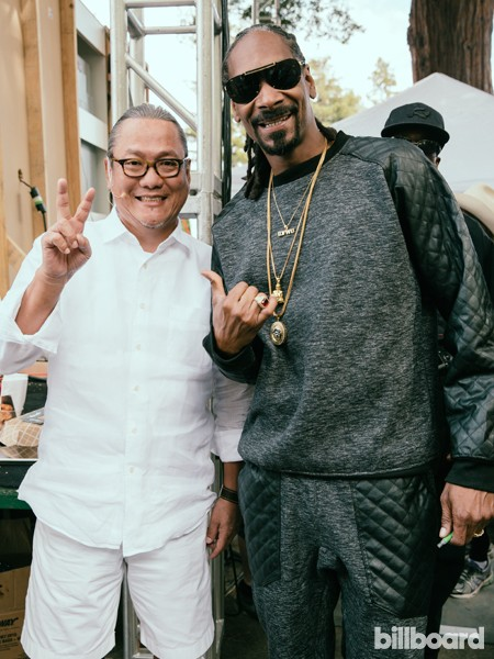 Snoop Dogg and Chef Masaharu Morimoto photographed backstage at the 2015 BottleRock Napa Valley Music Festival