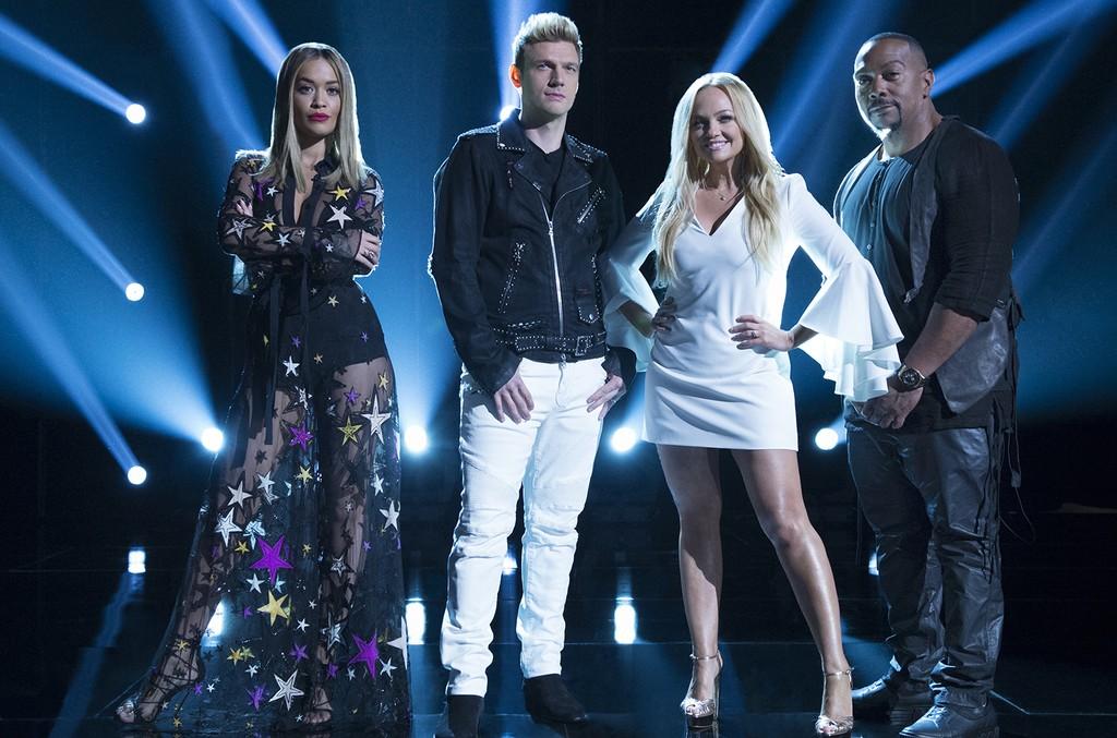 Rita Ora, Nick Carter, Emma Bunton and Timbaland on ABC's Boy Band.