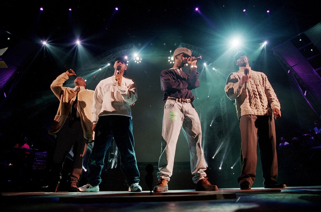 From left: Wanya Morris, Nathan Vaderpool, Shawn Stockman and Mike McCary of Boyz II Men rehearse at the Shrine Auditorium in preparation for the Grammy Awards show in Los Angeles on Feb. 28, 1995.