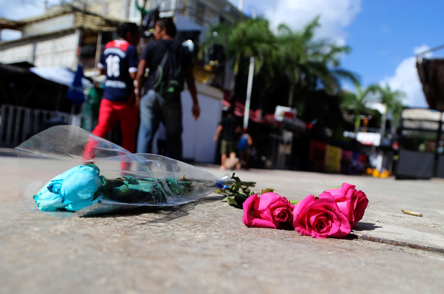 Roses lay outside the Blue Parrot nightclub after a shooting in Playa del Carmen, Mexico on Jan. 16, 2017.