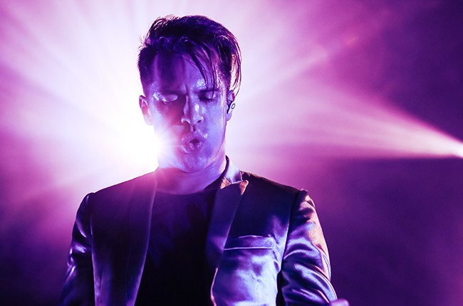 Brendon Urie of Panic! At the Disco performs at The Greek Theatre