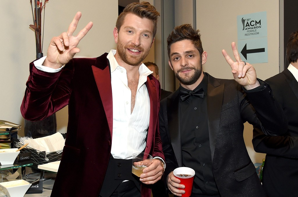 Brett Eldredge and Thomas Rhett attend the 52nd Academy Of Country Music Awards at T-Mobile Arena on April 2, 2017 in Las Vegas.
