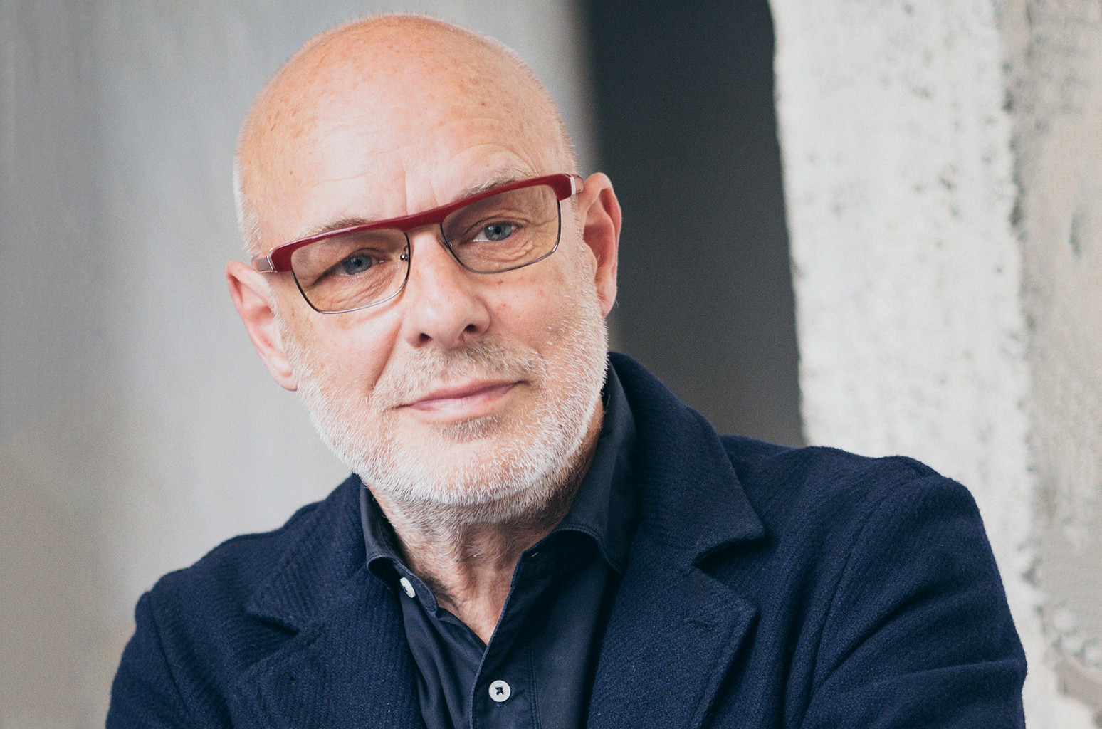 Brian Eno photographed in Rome on May 20, 2016.