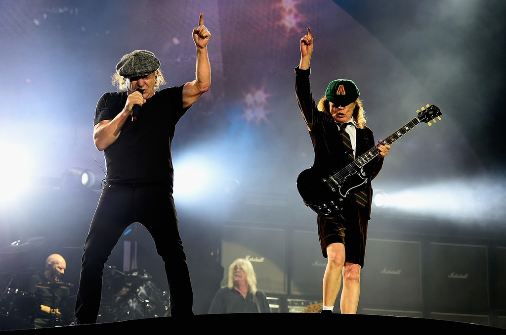 Brian Johnson and Angus Young of AC/DC Perform at Dodger Stadium at Dodger Stadium on Sept. 28, 2015 in Los Angeles.