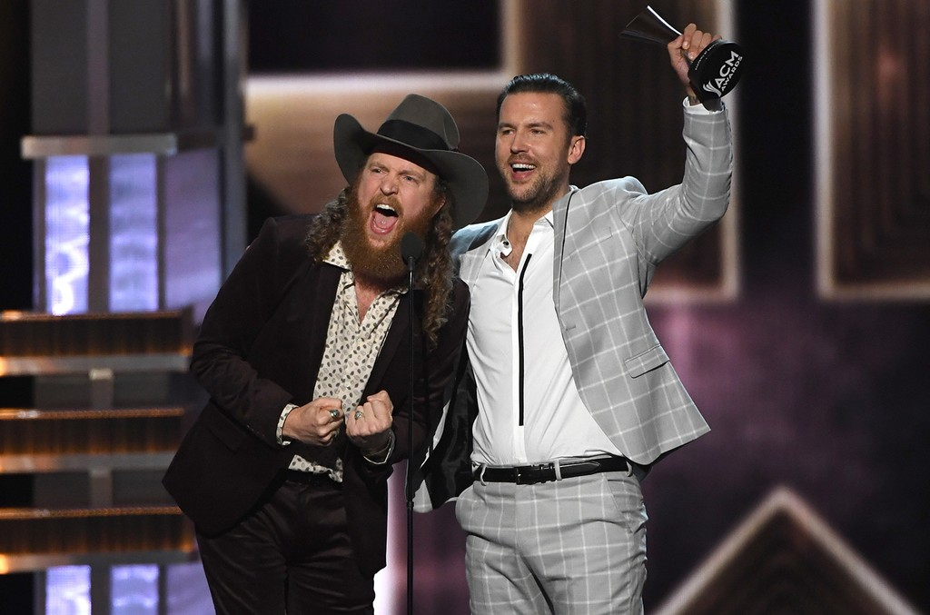 John Osborne (L) and T.J. Osborne of Brothers Osborne accept the Vocal Duo of the Year award onstage during the 52nd Academy Of Country Music Awards at T-Mobile Arena on April 2, 2017 in Las Vegas.