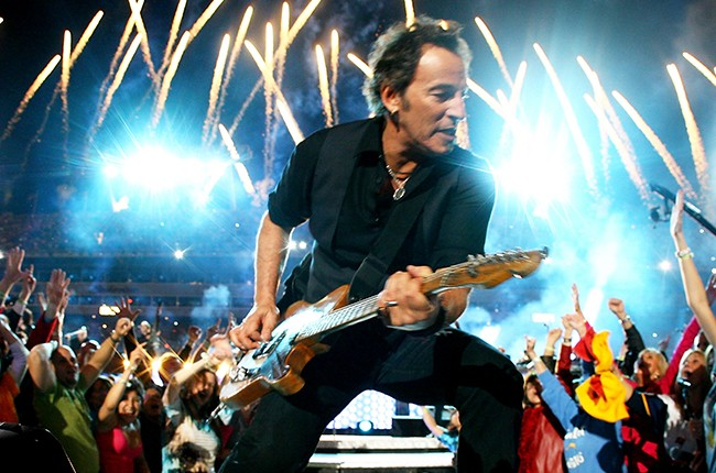 Bruce Springsteen and the E Street Band  perform at the Bridgestone halftime show during Super Bowl XLIII