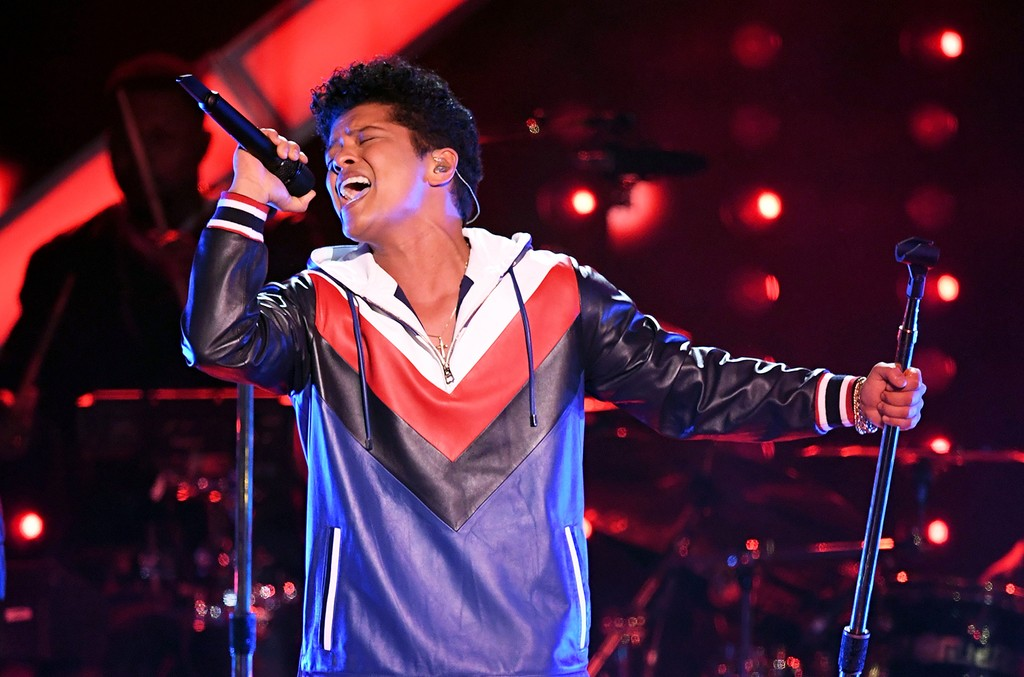 Bruno Mars performs during The 59th Grammy Awards at Staples Center on Feb. 12, 2017 in Los Angeles.