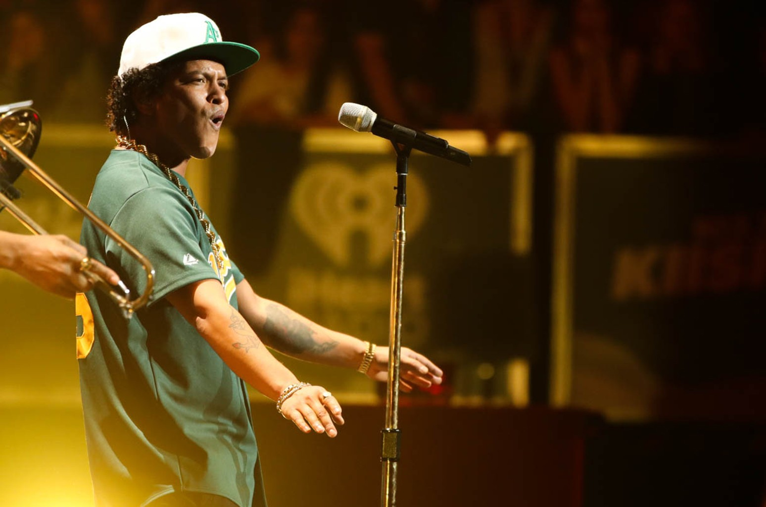 Bruno Mars performs on stage during the 102.7 KIIS FM's Jingle Ball 2016 at Staples Center on Dec. 2, 2016 in Los Angeles.