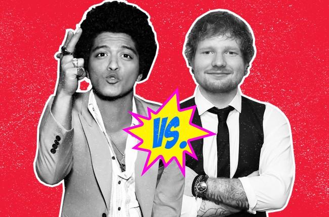 Bruno Mars versus Ed Sheeran for the 2015 MTV VMA Video of the Year