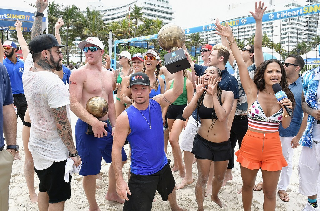 AJ Mclean, Skylar Del Sol, Kim Hildreth, Brian Littrell, Kat Graham and Rocsi Diaz at the volleyball trophy presentation at the iHeartSummer '17 Weekend By AT&T, Day 2 at Fontainebleau Miami Beach on June 10, 2017 in Miami Beach, Fla.