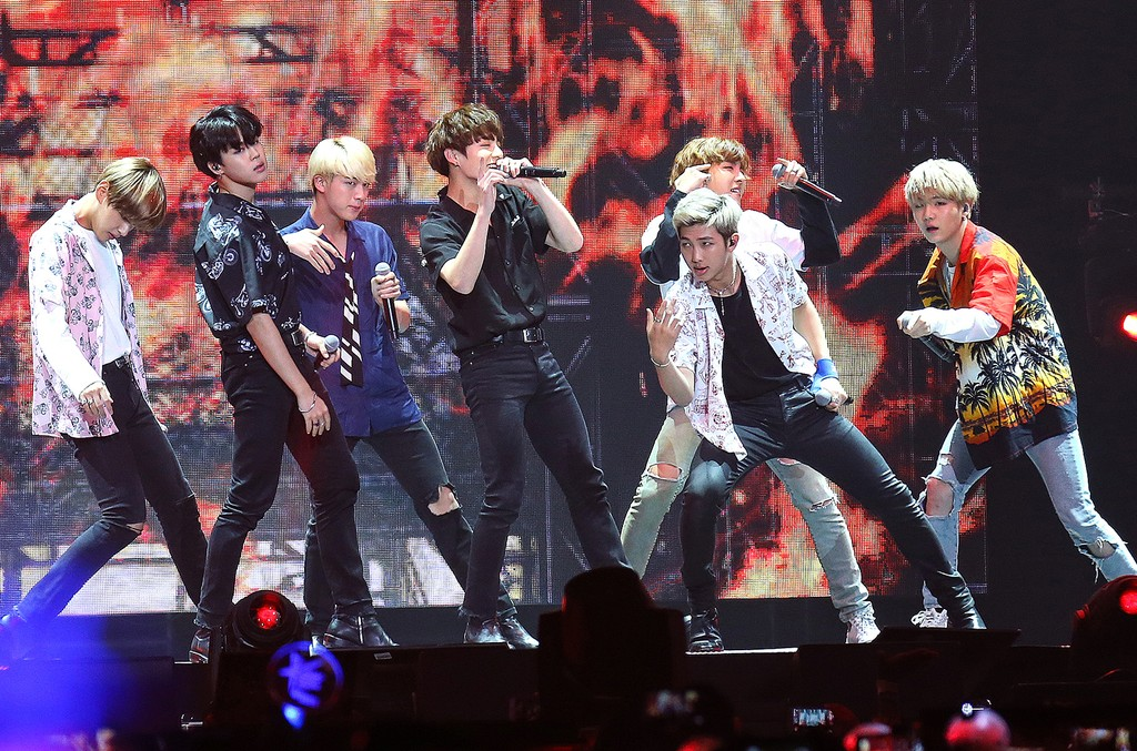 BTS performs onstage at KCON 2016 Day 2 at the Prudential Center on June 25, 2016 in Newark, New Jersey.