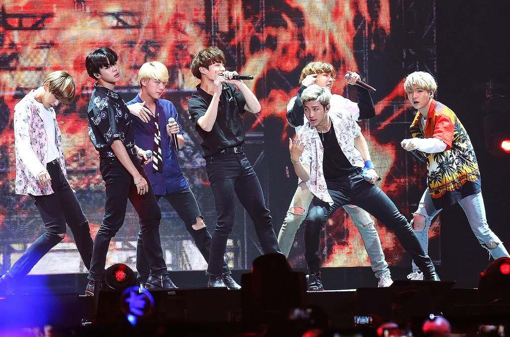 BTS performs at KCON 2016 Day 2 at the Prudential Center on June 25, 2016 in Newark, N.J.