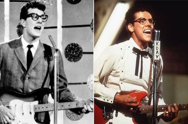 Buddy Holly and Gary Busey as Buddy Holly
