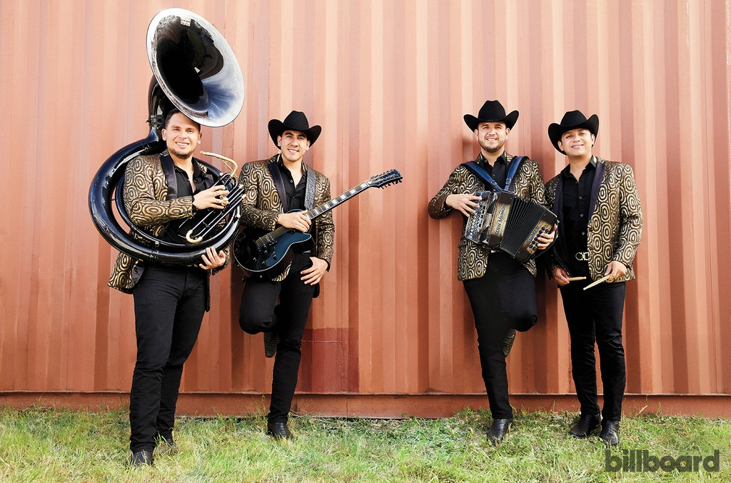 From left: Alejandro Gaxiola, Armando Ramos, Muñoz and Erick Garcia of Calibre 50, photographed March 26 at the Silver Nugget Casino & Event Center in Las Vegas.