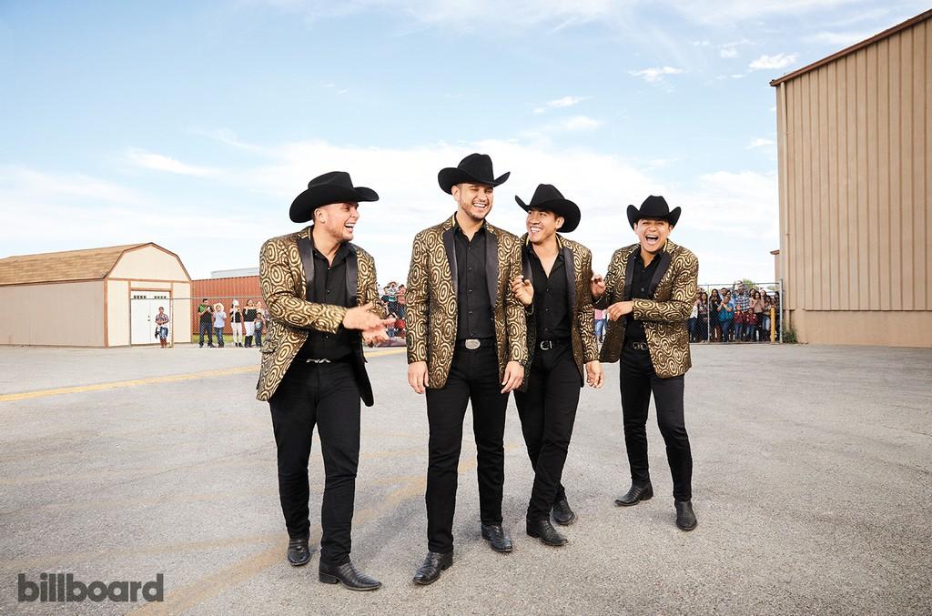 From left: Alejandro Gaxiola, Muñoz, Armando Ramos and Erick Garcia of Calibre 50, photographed March26 at the Silver Nugget Casino & Event Center in Las Vegas.