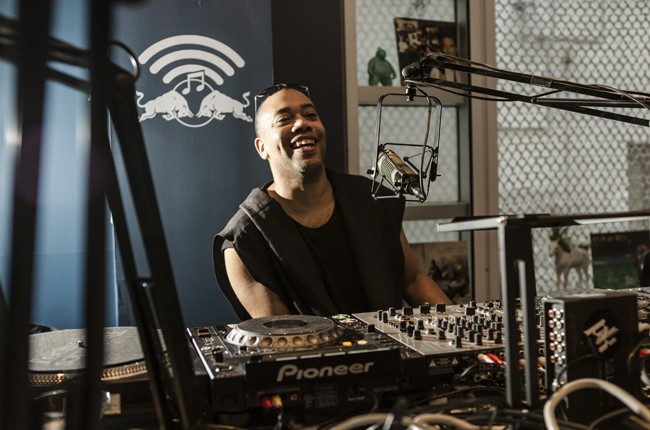 Carl Craig is interviewed in the Red Bull Music Academy pop-up radio station, at Red Bull Guest House in Miami