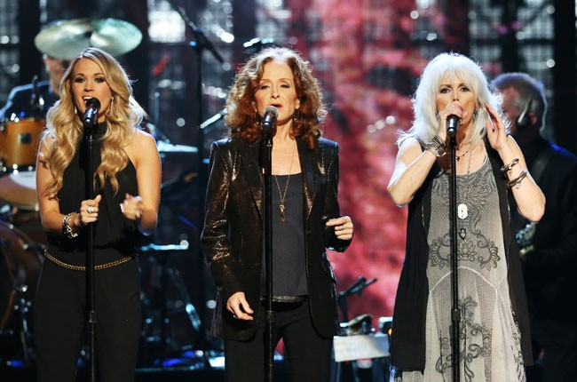 Carrie Underwood, Bonnie Raitt and Emmylou Harris at Rock and Roll Hall of Fame Induction